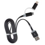 Cablu de date/incarcare microUSB + Adaptor PNY Lightning Apple, Negru