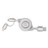 Cablu de date/incarcare microUSB extensibil + Adaptor PNY Lightning Apple, Alb
