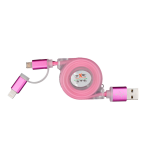 Cablu de date/incarcare microUSB extensibil + Adaptor PNY Lightning Apple, Roz