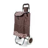 Carucior pentru piata/cumparaturi, 2 roti plastic, cadru metalic, 85x26x23 cm, 43 litri, maro-bej