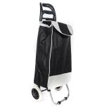 Carucior pentru piata/cumparaturi, 2 roti plastic, cadru metalic, 85x26x23 cm, 43 litri - negru