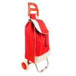 Carucior pentru piata/cumparaturi, doua roti plastic, cadru metalic, 85x26x23 cm, 43 litri, rosu
