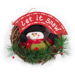 Coronita din ratan Holly, cu figurina let it snow