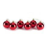 Set 6 globuri lucioase Holly, rosu, diam. 6 cm