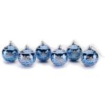 Set 6 globuri decorate Holly, albastru, diam. 6 cm