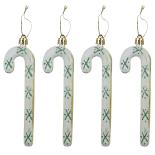 Set globuri Holly, model 4 bastonase cu fulgi, auriu/alb 12 cm