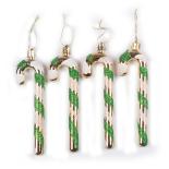 Set 4 globuri Holly, model bastonase, verde cu alb, 12 cm