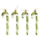 Set 4 globuri Holly, model bastonase, verde cu model verde/alb, 12 cm