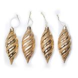 Set 4 globuri Holly, model conuri gliterate si lucioase, auriu, 10 cm
