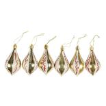 Set 6 conuri lucioase Holly, diametru 9 cm, Auriu/Alb