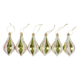 Set 6 conuri lucioase Holly, diametru 9 cm, Auriu /Verde