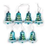 Set 7 globuri Holly, model clopotei, albastru, diam. 7 cm