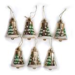 Set 7 globuri Holly, model clopotei, auriu, diam. 7 cm