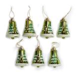 Set 7 globuri Holly, model clopotei, verde, diam. 7 cm