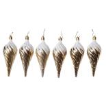 Set 6 globuri Holly, model conuri de brad, auriu, diam. 13 cm