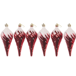Set 6 globuri Holly, model conuri de brad, rosu, diam. 13 cm