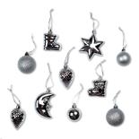 Set 10 figurine (mix accesorii pentru brad) Holly - argintiu