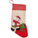 Cizmulita cadou Holly, model Santa om de zapada, bej, 47 x 18 cm