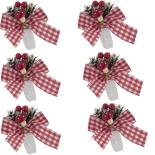 Set 6 inele festive Holly pentru servetele, 10 cm