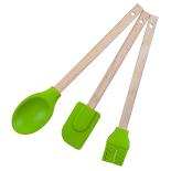 Set ustensile Gemma, spatula, pensula, lingura, rezistente la caldura, silicon, verde
