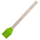 Pensula din silicon Gemma, cu maner din lemn, 28.5x4.5 cm, verde