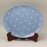 Farfurie Gemma intinsa 23 cm 16STX, model bleu cu stele albe