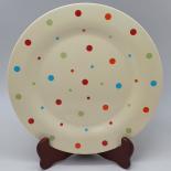 Farfurie Gemma, intinsa, 26 cm, bej, buline colorate, 6Stx