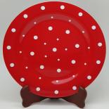 Farfurie Gemma, intinsa, 26 cm, rosu, buline, 8Stx