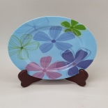 Farfurie Gemma pentru desert 2STX, 20 cm, bleu cu model floral