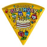 Farfurie triunghiulara Melaminart, pentru desert, melamina, Seria Birthday, galben