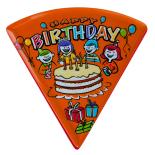 Farfurie triunghiulara Melaminart, pentru desert, melamina, Seria Birthday, portocaliu