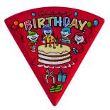 Farfurie triunghiulara Melaminart, pentru desert, melamina, Seria Birthday, rosu