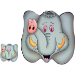 Set suport farfurie si pahar, model elefant, 30 x 30 cm, gri