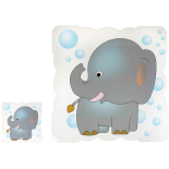 Set suport farfurie si pahar, model elefantel, 30 x 30 cm, gri