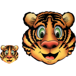 Set suport farfurie si pahar, model tigru, 30 x 30 cm, maro