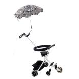 Carucior de copii alb, cu 5 roti si umbrela alb-negru