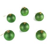 Set 6 globuri gliterate Holly, verde, diam. 6 cm