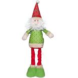 Figurina Mos Craciun Holly, verde, cu inaltime reglabila 41-55 cm