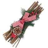 Decoratiune pentru centrul mesei Holly, model crenguta brad cu fundita, 30 cm