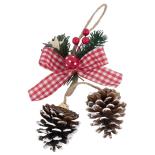 Decoratiune Holly cu conuri de brad, 30 cm