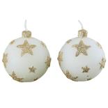 Set de 2 lumanari Holly, model globuri albe cu stelute in relief