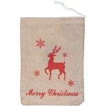 Saculet Holly pentru cadouri 30x20 cm, cu mesaj Merry Xmas, ren