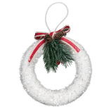 Decoratiune Xmas Holly inel alb 13x12 cm