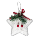 Decoratiune Xmas Holly steluta alba 10x12 cm