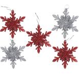 Set 5 fulgi de zapada Holly 10 cm, argintiu/rosu