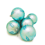 Set mixt Holly, 6 globuri cu model, 8 cm, acid blue