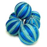 Set Holly, 6 globuri striate, 10 cm, blue
