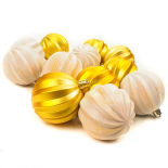 Set Holly, 12 globuri aurii, 6 cm