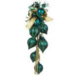 Decoratiune Holly, cu 8 globuri, 77 cm, peacock blue