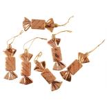 Set Holly 6 globuri decorate Candy, 12 cm, aurii
